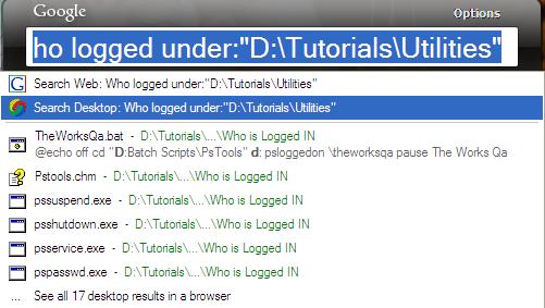 Google Desktop Search Result