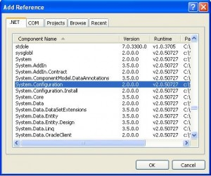 add reference of System.Configuration in .NET