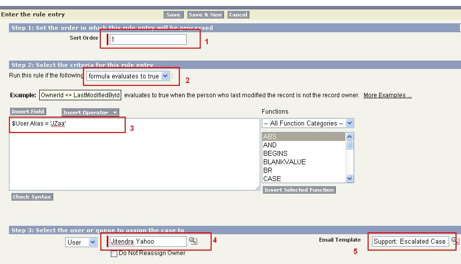 Rule Entry for the Case Assignment in Salesforce
