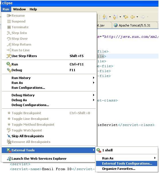 External Tools Configurations Eclipse