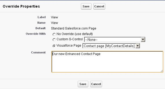 Select Custom Page to override default behavior in Salesforce