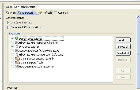 Hibernate Code Generation Wizard in Eclipse-Exporters Tab