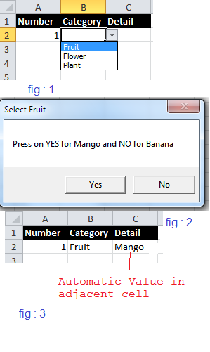 Change content of alternate cell on change of the cell value using macros