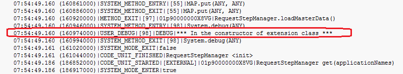 Debug statement printed in debug logs