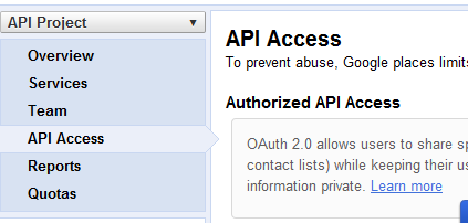 Google API Access