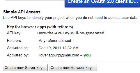 Google Simple API Access