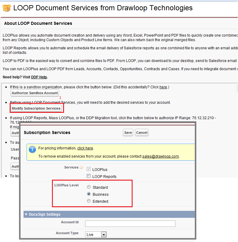 Enabling Business Version of DrawLoop