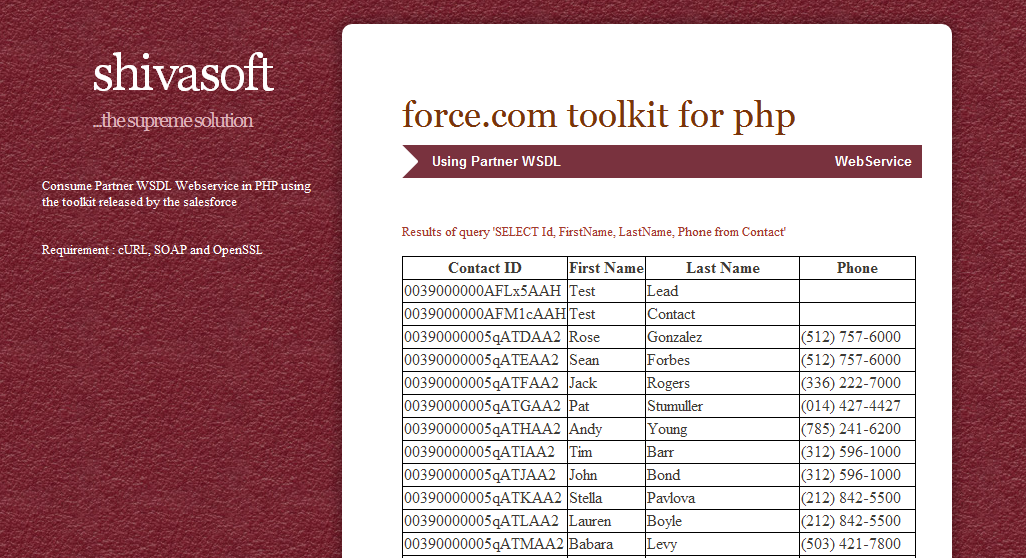 force.com toolkit for PHP toolkit
