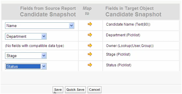 Salesforce Analytic Snapshot - Field Mapping between Source Report and Target Object