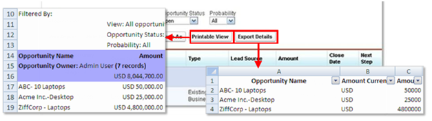 Salesforce Report - Printable view and Export Details
