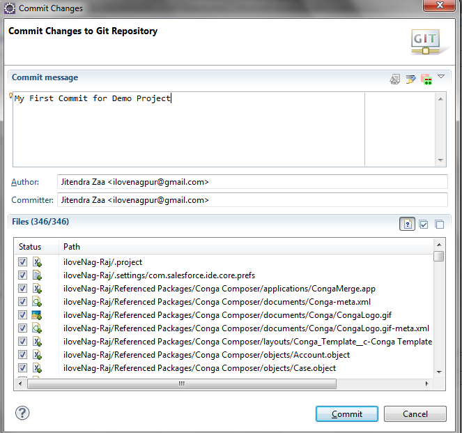 Commit Changes to Git Repository - Eclipse - Salesforce