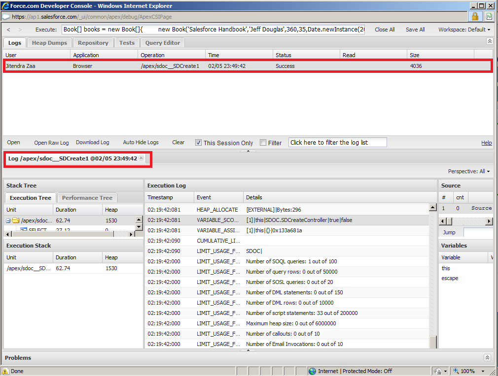 Debug Manage Package in Salesforce Using Developer Console
