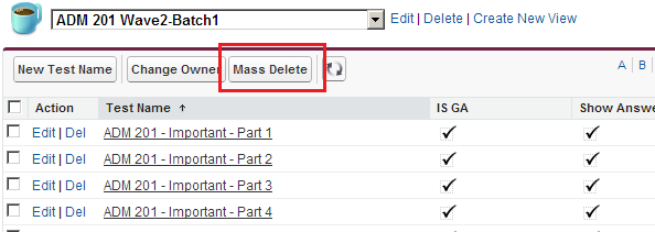 Salesforce Mass Delete Button - List View