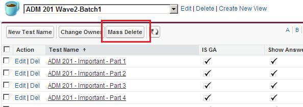 Salesforce Mass Delete Button - List View