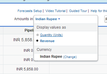 Salesforce Display Forecast as Quantity or Revenue