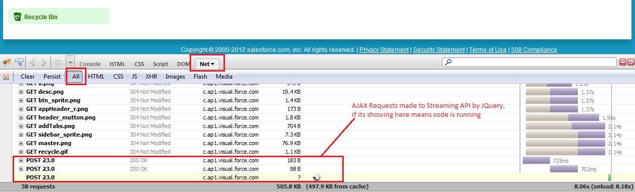 firebug tool debugging streaming api of salesforce