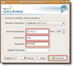 Connect to MySQL using Query Browser in Ubuntu