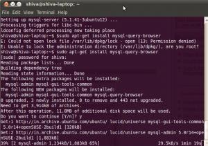 console screen look like during downloading the mysql in Ubuntu