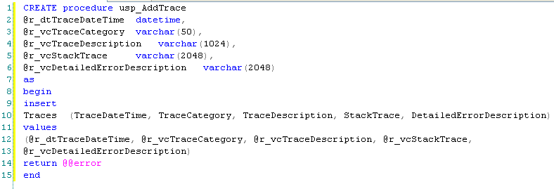 Stored Procedure ASP.NET Tracing