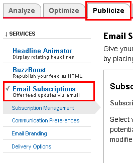 Enable Subscribe by email in Feedburner