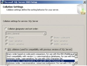 SQL Server 2005 Collation Settings