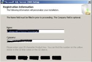 SQL Server 2005 Registration Screen