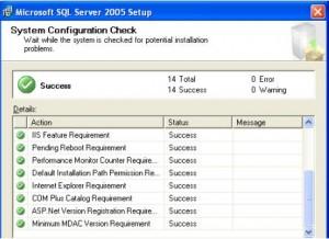 SQL Server 2005 System Configuration Check