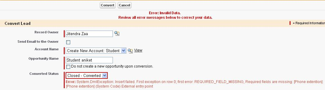 Lead Conversion error in salesforce