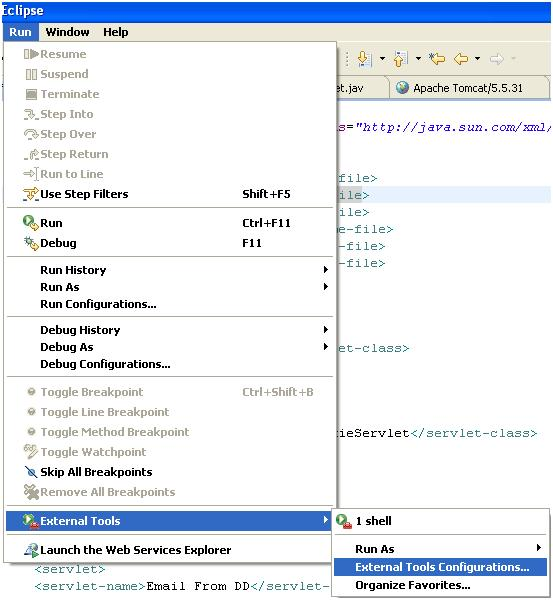 External Tools Configurations Eclipse
