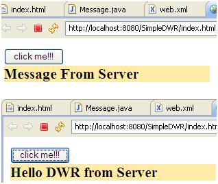 Simple AJAX in JAVA using DWR