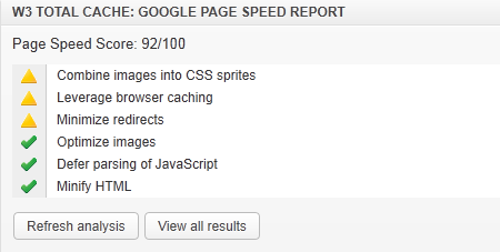 W3 Total Cache Google API Report