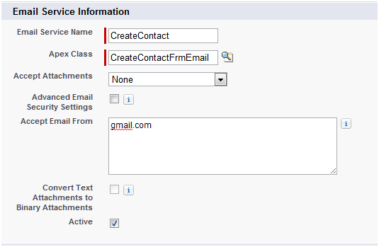 Email Service Information - Salesforce