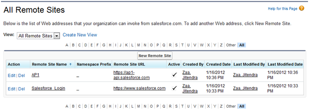 Salesforce Remote Site Setting