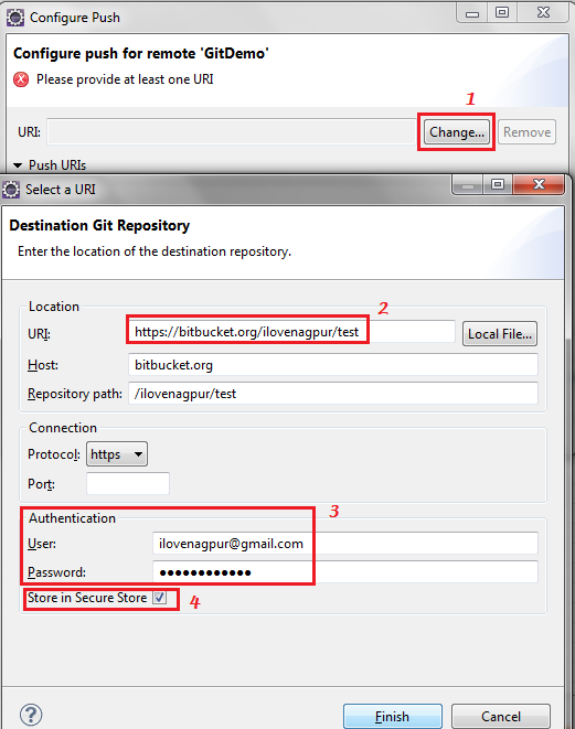 Configure Push for remote repository - Git - Eclipse - Salesforce