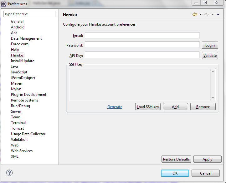Setting up Credentials for Heroku in Eclipse
